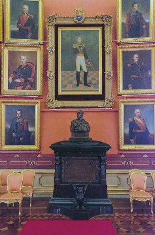 Galería de próceres en el Palacio Legislativo Federal. Foto Luis Chacín, febrero de 2017. Patrimonio histórico nacional de Venezuela en riesgo.