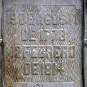 Inscripción en la cara posterior del pedestal. Patrimonio histórico del municipio Mérida, estado Mérida. Venezuela.