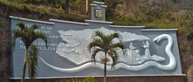 Mural de la entrada de San Antonio de Capayacuar. Patrimonio cultural del estado Monagas, Venezuela.