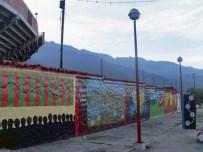 Los murales de la plaza de toros en 2012. Plaza de Toros Román Eduardo Sandia, patrimonio cultural del estado Mérida, Venezuela..