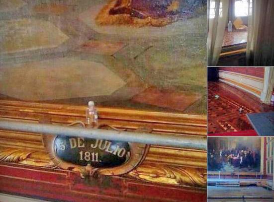Profanación del Salón Elíptico. Palacio Federal Legislativo, patrimonio de Venezuela en peligro.