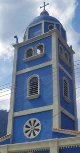 Detalle de la torre de la iglesia San Vicente Ferrer. Patrimonio cultural de Táchira, Venezuela.