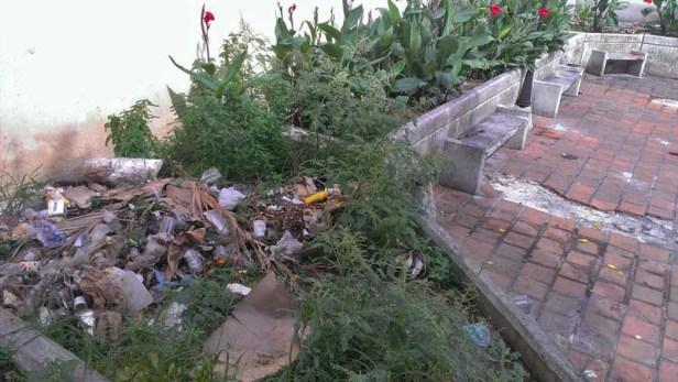 Áreas verdes sofocadas por la basura. Valera, Trujillo. Patrimonio cultural de Venezuela en peligro.