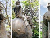 Escultura Homenaje al buen ciudadano. Bronce mutilado por el tráfico ilícito de este metal en Venezuela. Patrimonio cultural en riesgo.