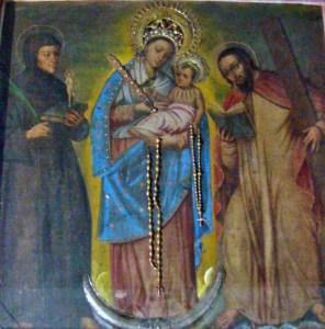Lienzo de la Virgen de Chiquinquirá de Lobatera, obra del arte colonial hispanoamericana. Patrimonio cultural de Venezuela.