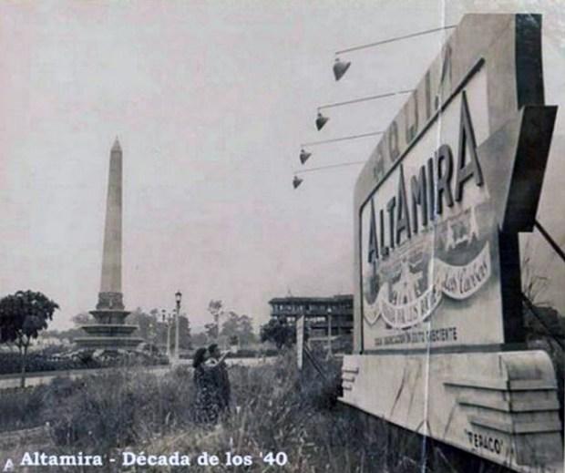 Plaza de Altamira, en 1940. Desde 1967 se llama plaza Francia por un convenio entre Caracas y París.