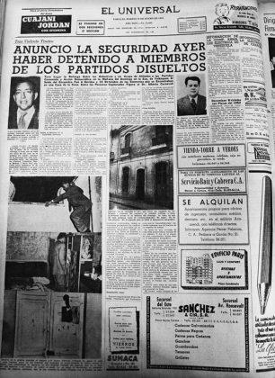Noticia publicada en El Universal el 20 de enero de 1953 sobre la captura de Alberto Carnevali. Dig. Samuel Hurtado Camargo.