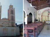 Fachada e interior de la iglesia Nuestra Señora de Los Ángeles. Bruzual, Apure. Foto Marinela Araque, enero 2019.
