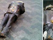 La destruida estatua de Armando Reverón. Foto izq. @PDVSALaEstancia, de la der. Min. Ernesto Villegas. Enero 2019.
