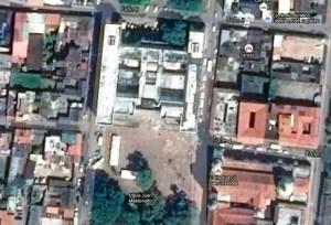 Edificio Nacional de la ciudad de San Cristóbal, estado Táchira. Panorámica en ortofotografía del plano o planta reticular herreriana y fachadas retranqueadas del Edificio Nacional de la ciudad de San Cristóbal