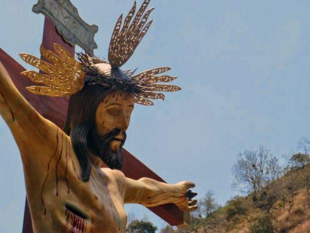 Detalle de la réplica de la imagen del Santo Cristo de La Grita, obra del artista y restaurador gritense Lcdo. Miguel Ángel Márquez. Foto Miguel Ángel Márquez, 2014.