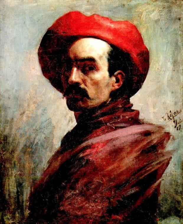 Autorretrato con sombrero rojo, de 1887. Cristóbal Rojas. Foto Wikimedia Commons, dominio público.