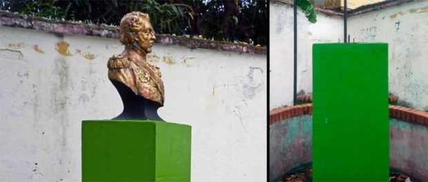 El desaparecido busto de bronce de Páez, de la plaza homónima de la ciudad de Barinas. Foto José A. Pérez Larrarte, en Facebook, 17 de marzo de 2019.