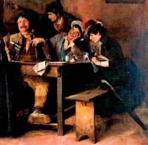 Fragmento de La taberna (Cristóbal Rojas, 1887).