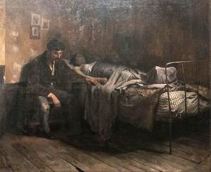La miseria, 1886. Pintura de Cristóbal Rojas, pintor venezolano. Colección Galería de Arte Nacional.