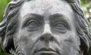 Detalles del rostro de la escultura de Gabriel Picón González. Mérida - Venezuela. Foto Samuel Hurtado Camargo, marzo 30 de 2019