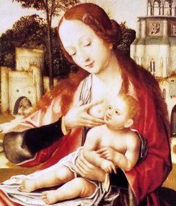Fragmento de La Virgen de la leche, se observa el dulce cruce de miradas de la madre y el niño. Colección del Museo de Bellas Artes de Caracas.