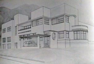 Quinta Casa Blanca, en La Florida, Caracas, 1937. Foto Gasparini, Graziano y Posani, Juan Pedro, Caracas a través de su arquitectura, Armitano Editores.