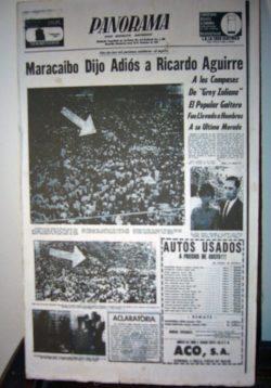 Facsímil de la portada del diario Panorama que reseña el multitudinario funeral de Ricardo Aguirre, en noviembre de 1969. Foto Wilmer Villalobos, mayo 2019.