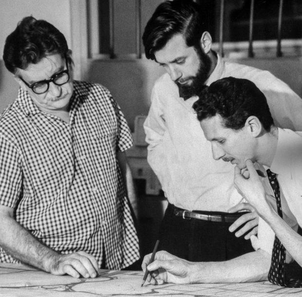 Robert Burle Marx, John Stodart y Fernando Tábora. Foto Colección John Stoddart.