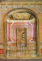 Perspectiva interior de los Espacios Protocolares (1998). Reconstrucción hipotética. Dibujo realizado por Eduardo Gil. Levantamiento de Baldemar Bottini. (Tomado de la Revista Memoriales 1, pág. 50, ver ref.)