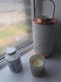 Storm lantern: Oliver Bonas; Lavendar bath salts: Cabinet of Curiosities, Howarth; Vanilla sented candle: Matalan