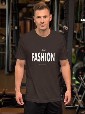 i AM Fashion Dark Unisex Short Sleeve Jersey T-Shirt with Tear Away Label