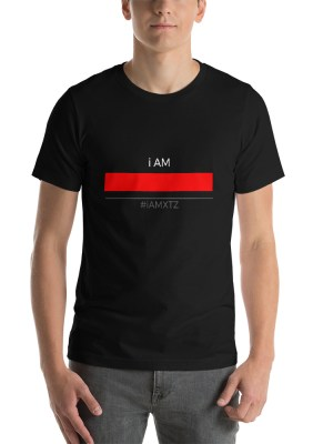 i AM Red Line BLK Unisex Short Sleeve Jersey T-Shirt with Tear Away Label