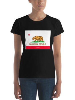 i AM California Dark Ladies Ringspun Fashion Fit T-Shirt with Tear Away Label