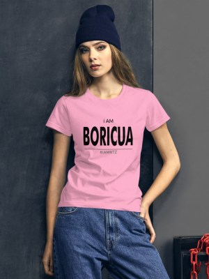 i AM Boricua Light Ladies Ringspun Fashion Fit T-Shirt with Tear Away Label