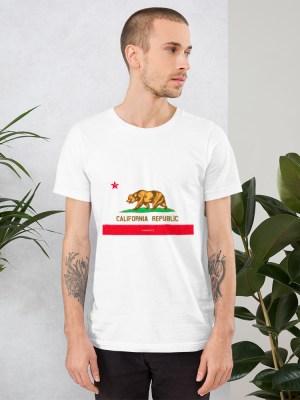 i AM California Unisex Short Sleeve Jersey T-Shirt with Tear Away Label