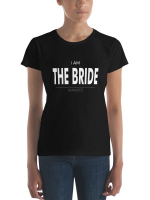 i Am The Bride Dark Ladies Ringspun Fashion Fit T-Shirt with Tear Away Label