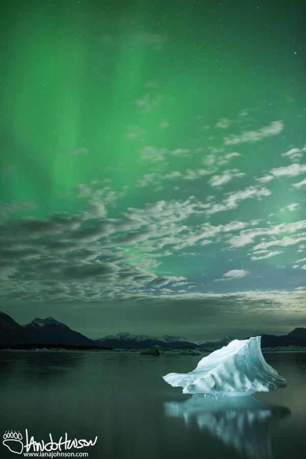 Aurora, Iceberg, Northern Lights, Yakutat, Alaska, For Sale