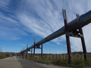 The Alaskan pipeline snaking its way after just crossing the Yukon