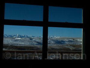 I could not resist taking this shot through the window of the mess hall. This is what we looked at as we ate our meals.