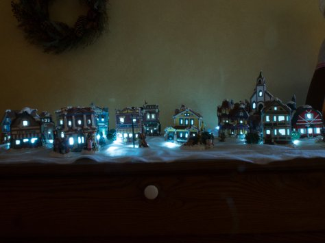 Christmas town from a distance.