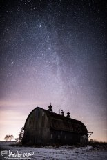The Milky Way stands tall over this barn in Midwest Minnesota.