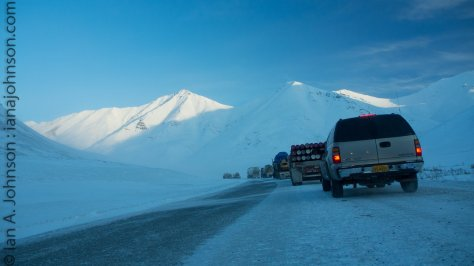 Before crossing through Atigun pass we hit a large line of trucks waiting to go through 1 at a time. The conditions were poor with the high winds and snow. There was significant drifting at the bottom of the pass, but the roads cleared up as we went over.