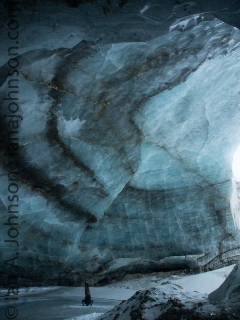 The blue in this huge ice cavern is stunning, as is the size!