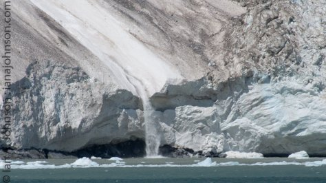 This river of ice and snow is the result of a large chunk of ice which broke away hundreds of feet above. The ice-chute that it slid down poured slush and chunks into the ocean.
