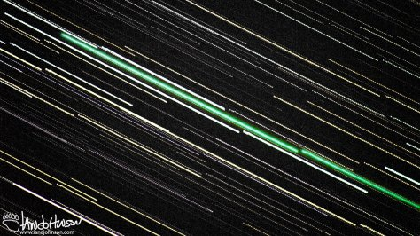 This abstract shot of the Comet Lovejoy was assembled in Star Trails. Because of the noise associated with these shots I had to edit it heavily. However, I love the neon green path that it it plows across the sky!