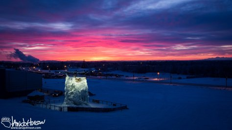 February 2nd : Sunrise over the University of Alaska Fairbank's ice climbing wall