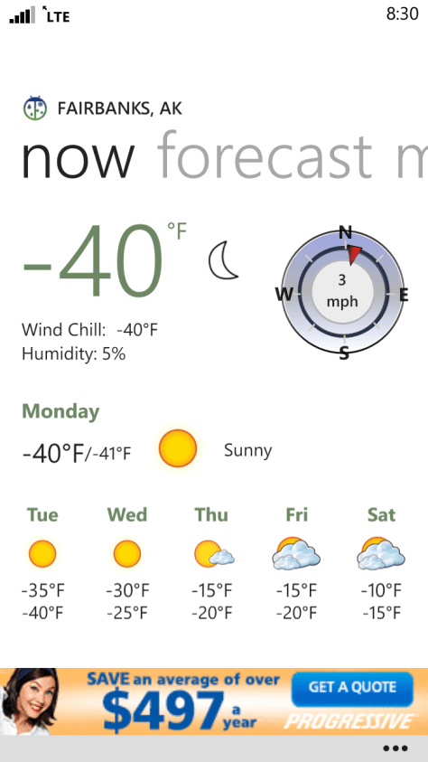 When I awoke in the morning the temperatures had dipped to -40 and humidity was holding at 5%!