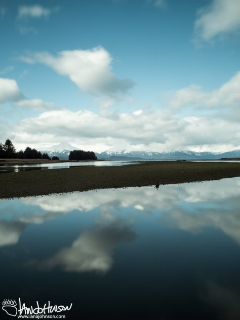 A mountain sits on the far side of the inlet at Eagle Beach. I was fortunate to have some sun on my last day in Juneau.