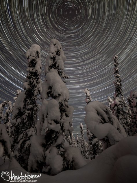 Star-trails in a winter wonderland, Fairbanks, Alaska