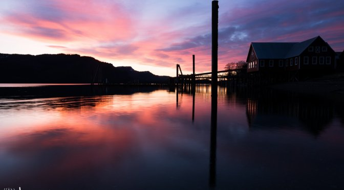 Panoramic image of an incredible sunset at Icy Strait Point.