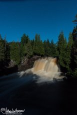 Upper Falls of Gooseberry State Park under the moonlight.