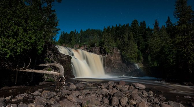 Lower Falls of Gooseberry State Park under the moonlight.