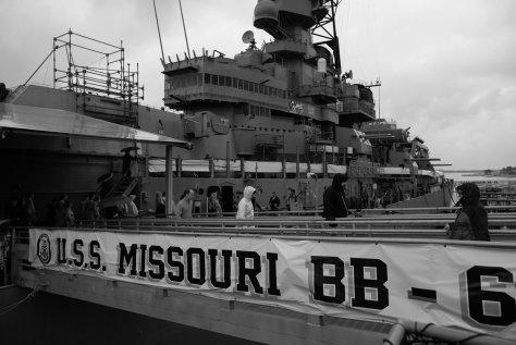 Mighty Mo, Missouri, Hawaii, Oahu, Pearl Harbor, Black and White