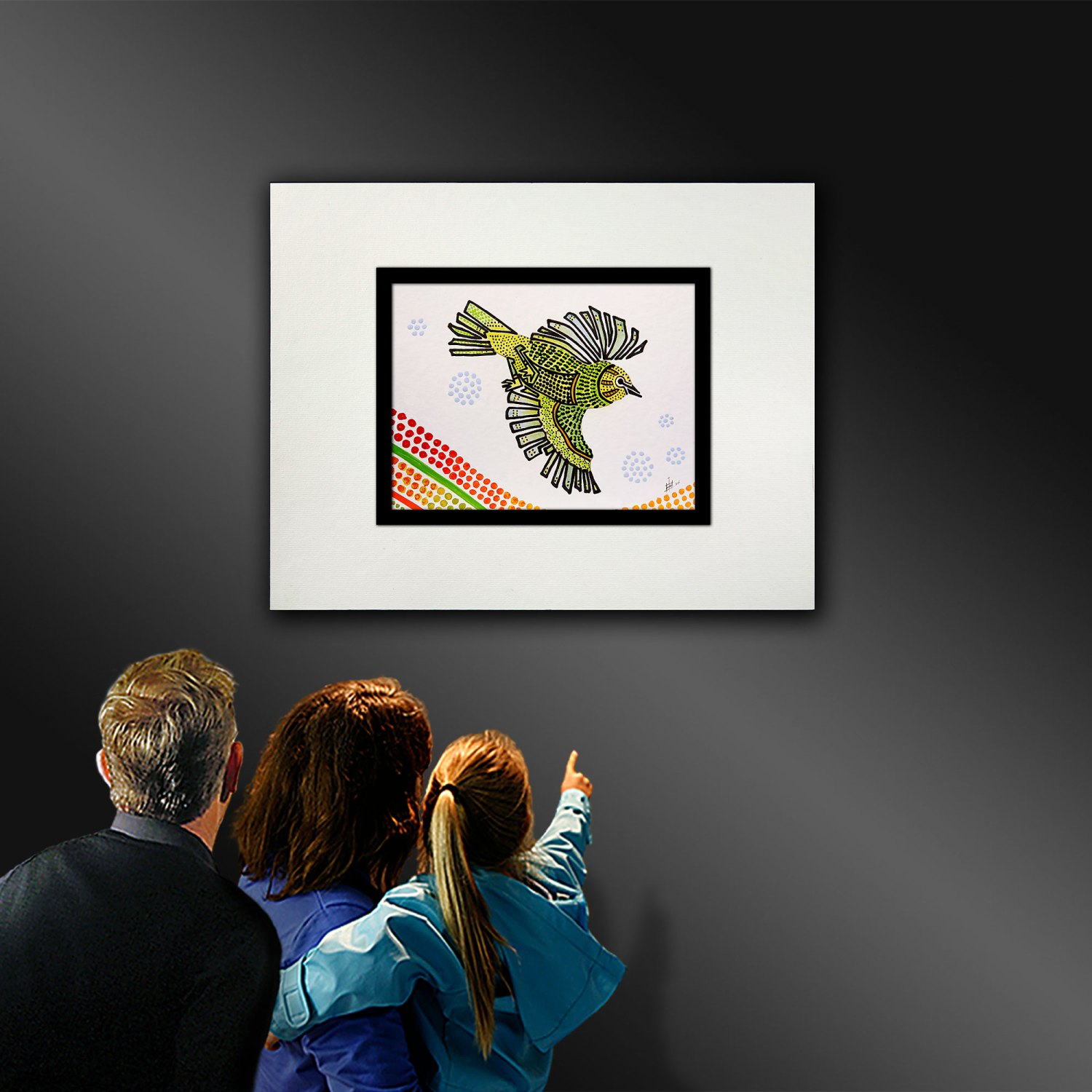 A colour illustration of a Silvereye bird in flight, being viewed in a gallery.